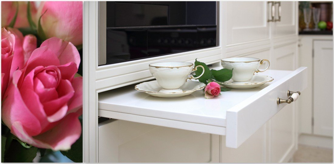 Fitted bespoke kitchen wooden furniture, custom English kitchens, traditional kitchens, Provencal kitchens - wooden windows and cups