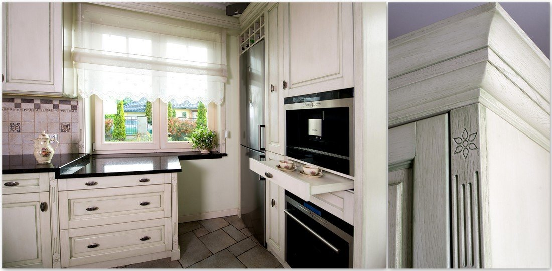 Wooden bespoke kitchen furniture timber Provencal kitchens, wooden windows