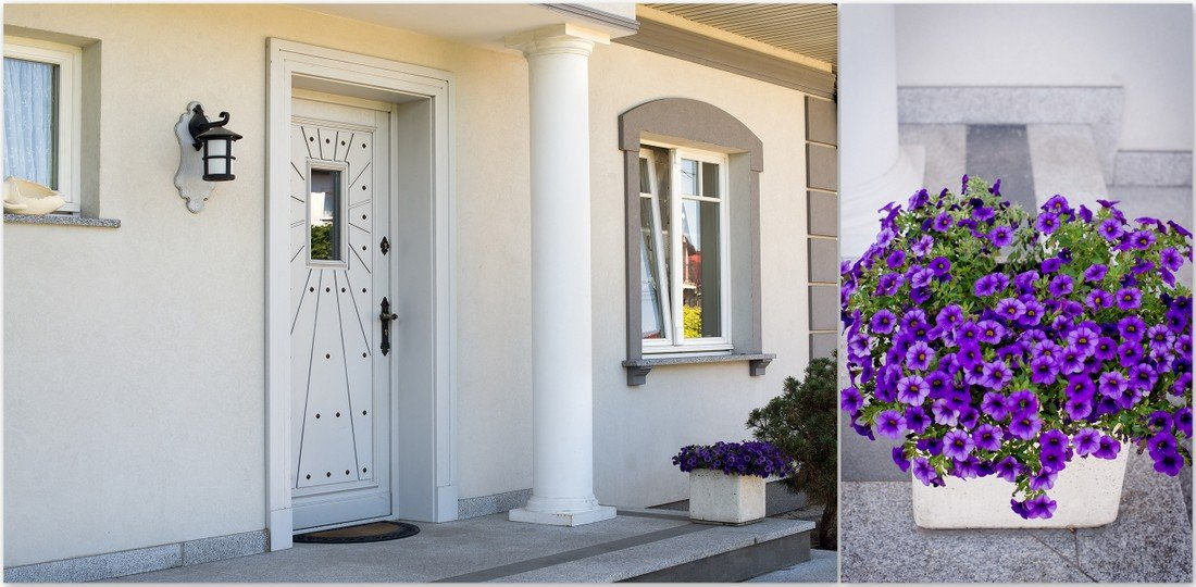 Timber doors - stylish Provencal wooden windows - flowers