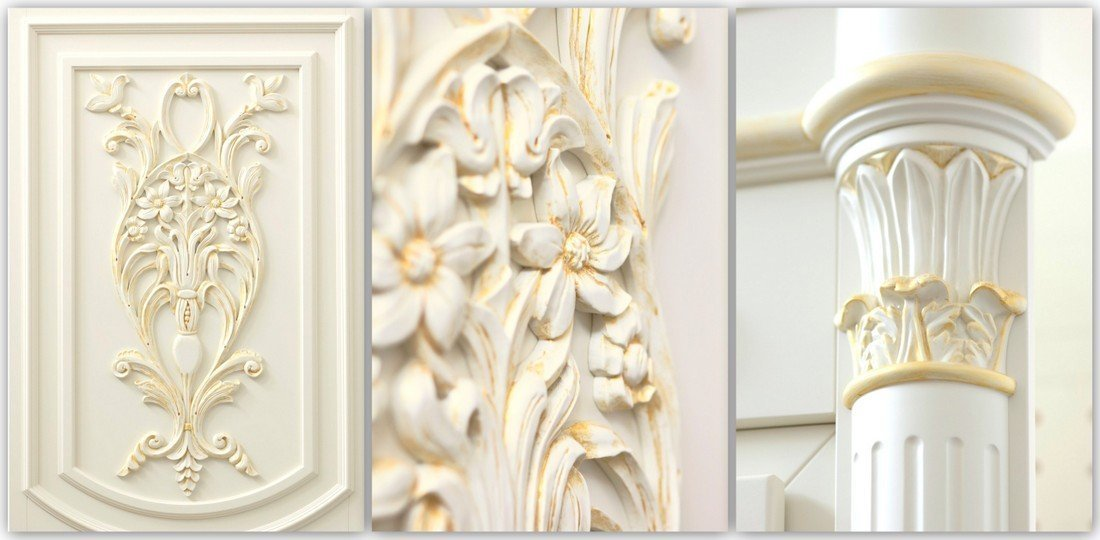 Carved alder doors - wooden baroque fitted doors – sculptures manufacturer