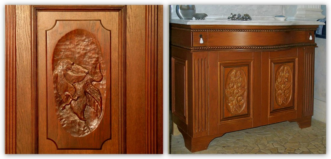 Exclusive wooden furniture made to measure bathroom, kitchen, living-room wooden furniture producer - carved oak fitted bathroom cabinet