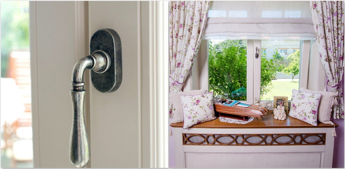 Oak wooden windows and pine windows - Provencal style - Provencal handles